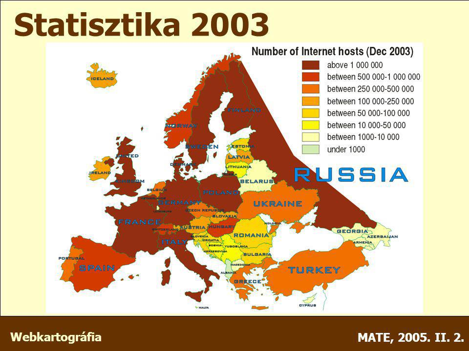 Webkartográfia MATE, 2005. II. 2. Statisztika 2003