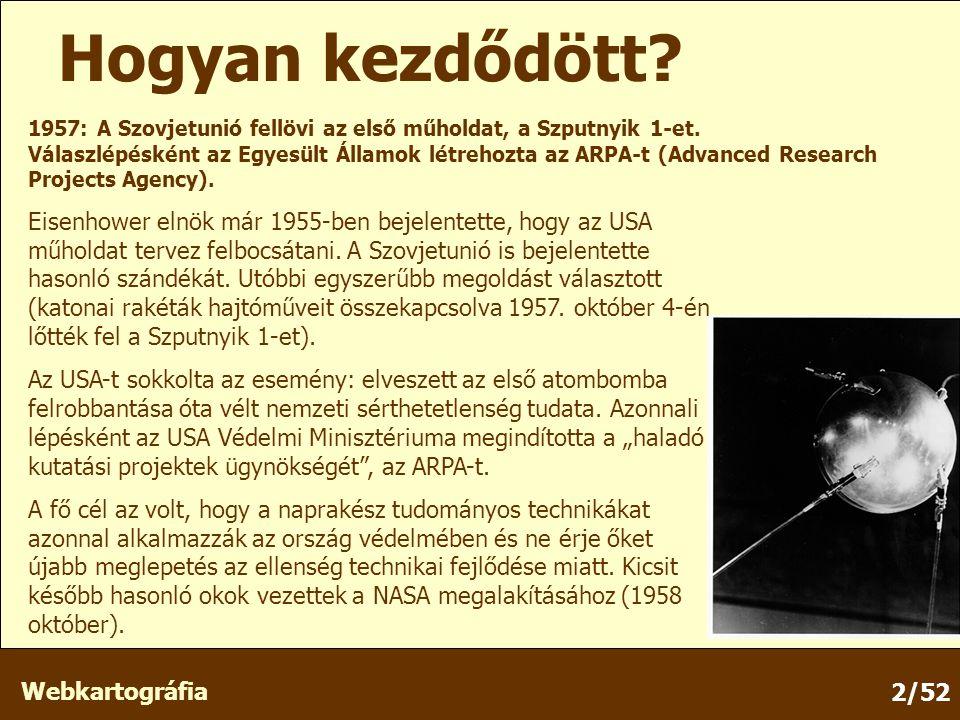 Webkartográfia 2/52 1957: A Szovjetunió fellövi az első műholdat, a Szputnyik 1-et.