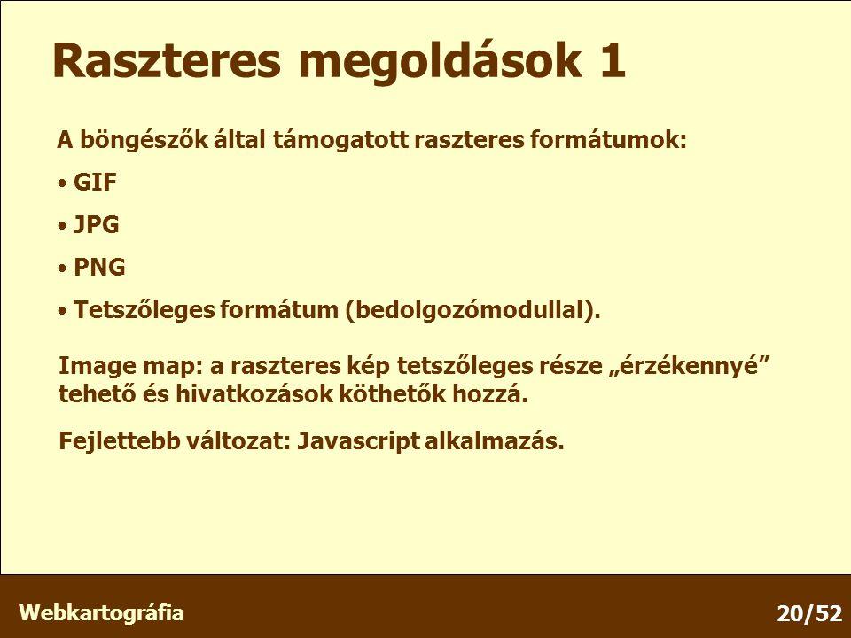 Webkartográfia 20/52 Raszteres megoldások 1 A böngészők által támogatott raszteres formátumok: GIF JPG PNG Tetszőleges formátum (bedolgozómodullal).