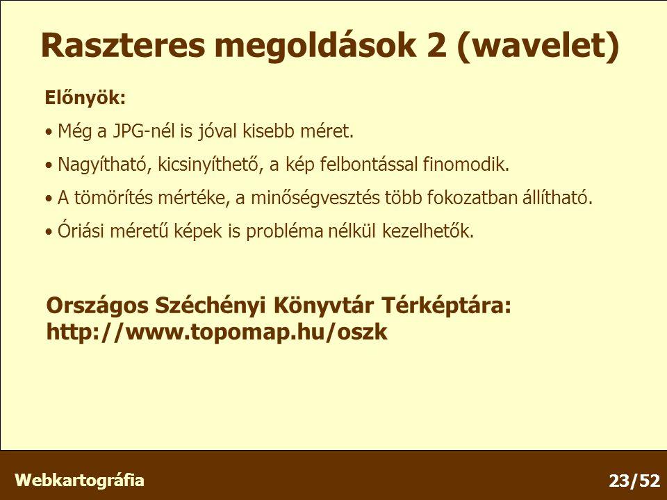 Webkartográfia 23/52 Raszteres megoldások 2 (wavelet) Előnyök: Még a JPG-nél is jóval kisebb méret.