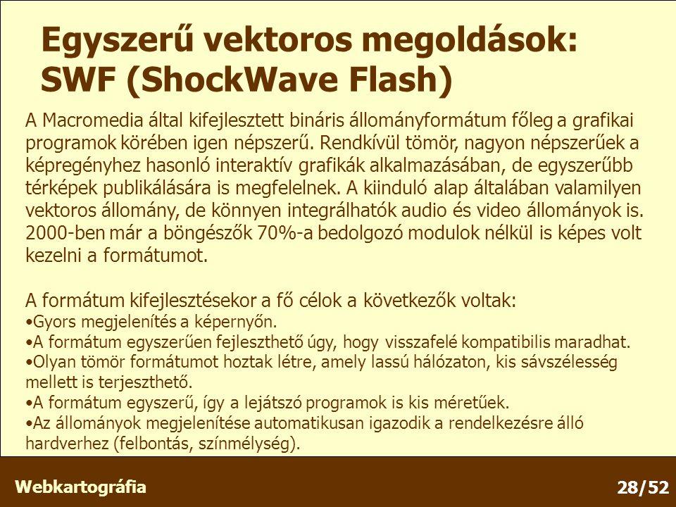 Webkartográfia 28/52 Egyszerű vektoros megoldások: SWF (ShockWave Flash) A Macromedia által kifejlesztett bináris állományformátum főleg a grafikai programok körében igen népszerű.