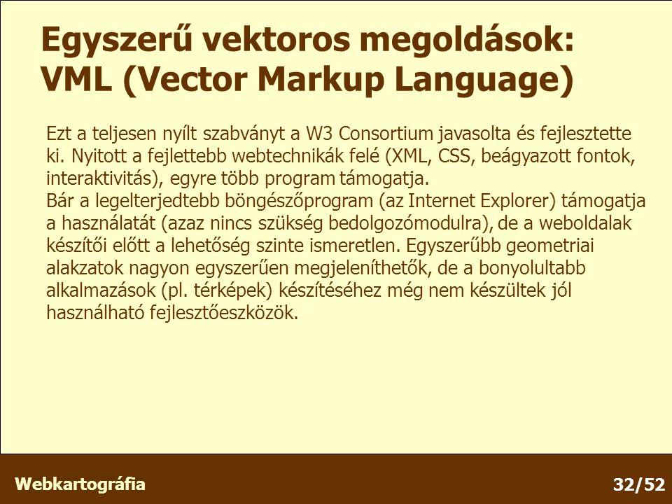 Webkartográfia 32/52 Egyszerű vektoros megoldások: VML (Vector Markup Language) Ezt a teljesen nyílt szabványt a W3 Consortium javasolta és fejlesztette ki.