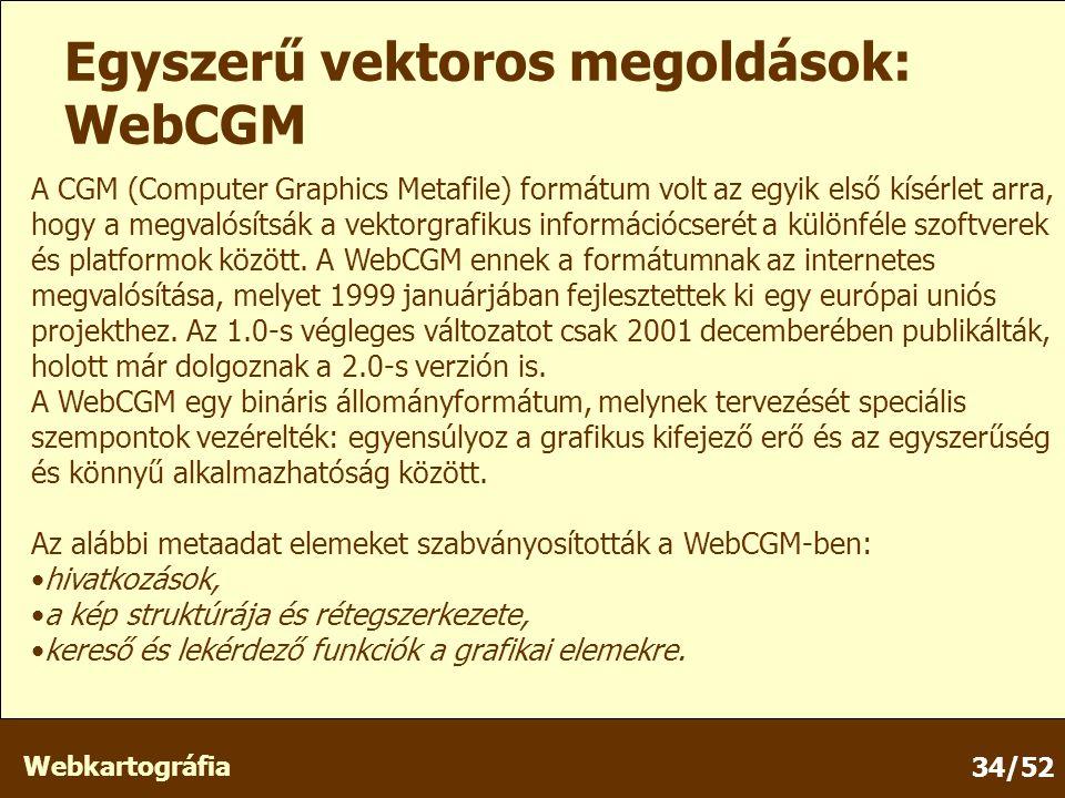 Webkartográfia 34/52 Egyszerű vektoros megoldások: WebCGM A CGM (Computer Graphics Metafile) formátum volt az egyik első kísérlet arra, hogy a megvalósítsák a vektorgrafikus információcserét a különféle szoftverek és platformok között.