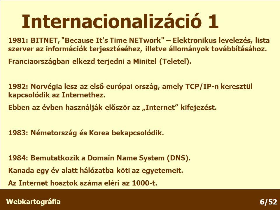 Webkartográfia 6/52 1981: BITNET, Because It s Time NETwork – Elektronikus levelezés, lista szerver az információk terjesztéséhez, illetve állományok továbbításához.