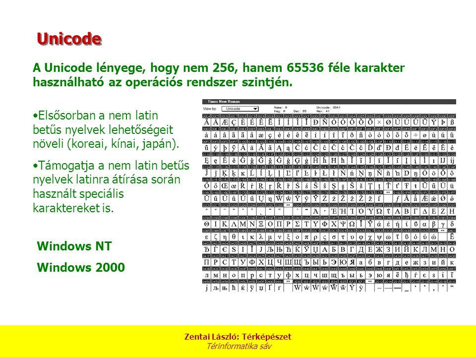 Zentai László: Térképészet Térinformatika sáv Unicode A Unicode lényege, hogy nem 256, hanem 65536 féle karakter használható az operációs rendszer szi