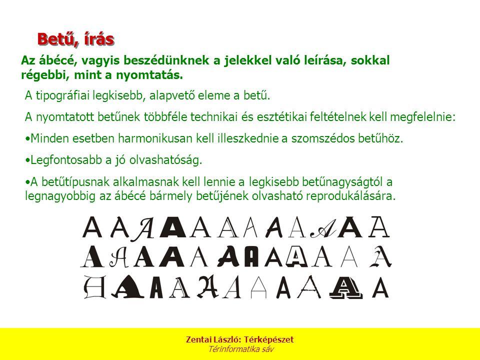 Zentai László: Térképészet Térinformatika sáv Betű, írás Az ábécé, vagyis beszédünknek a jelekkel való leírása, sokkal régebbi, mint a nyomtatás. A ti