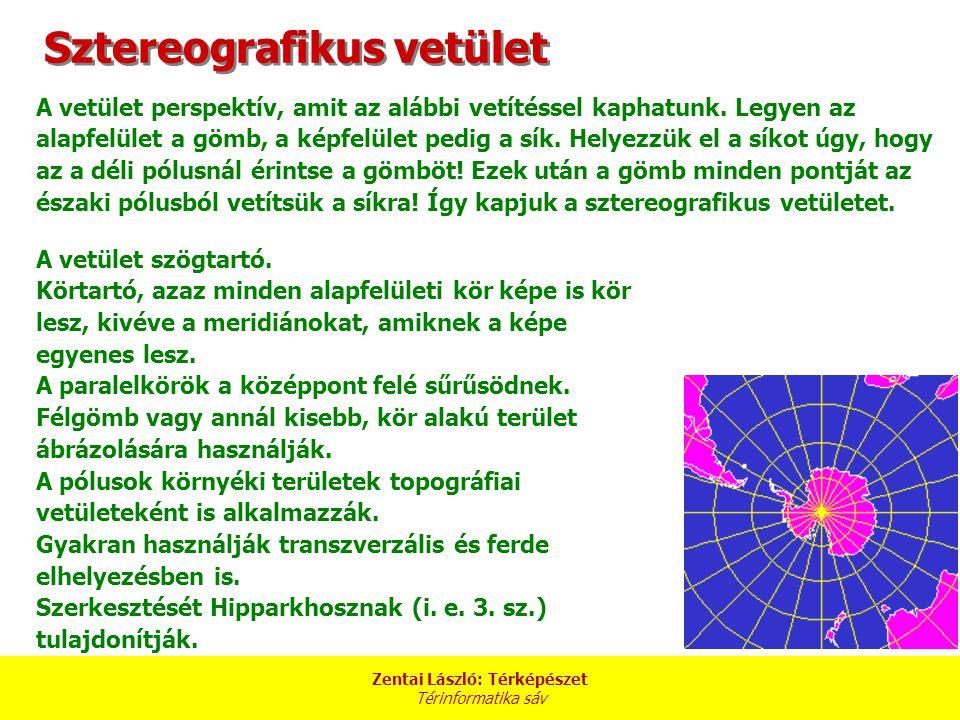 Zentai László: Térképészet Térinformatika sáv Sztereografikus vetület A vetület perspektív, amit az alábbi vetítéssel kaphatunk.