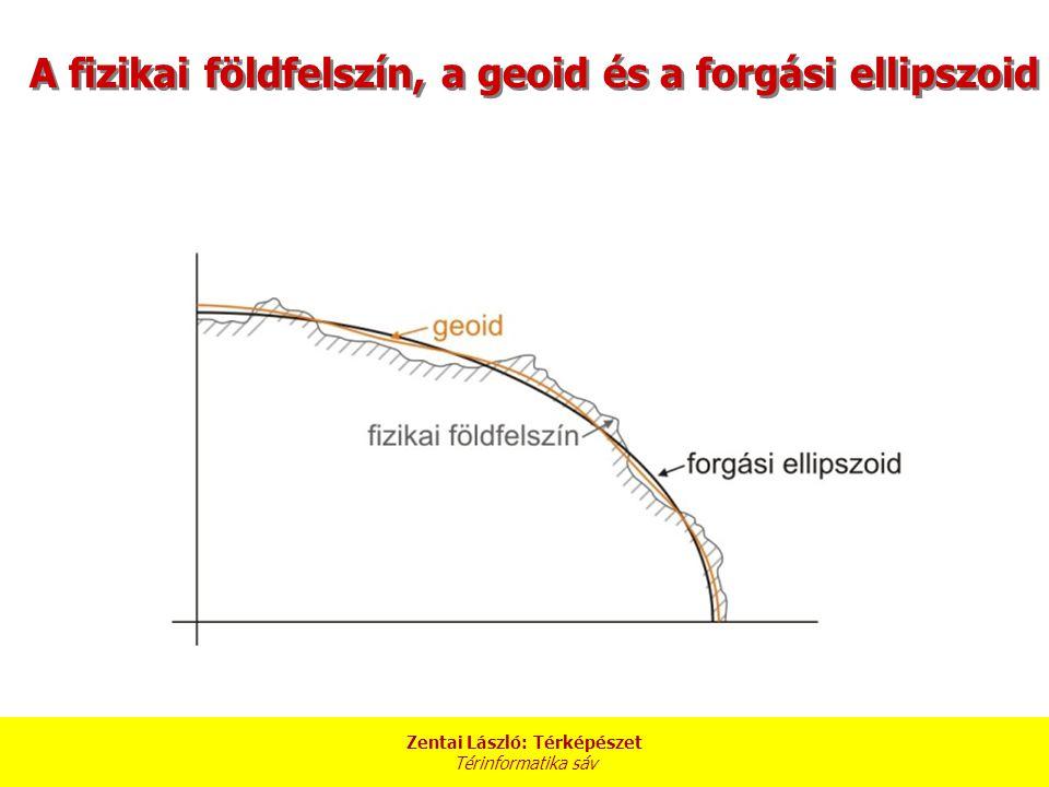 A fizikai földfelszín, a geoid és a forgási ellipszoid Zentai László: Térképészet Térinformatika sáv