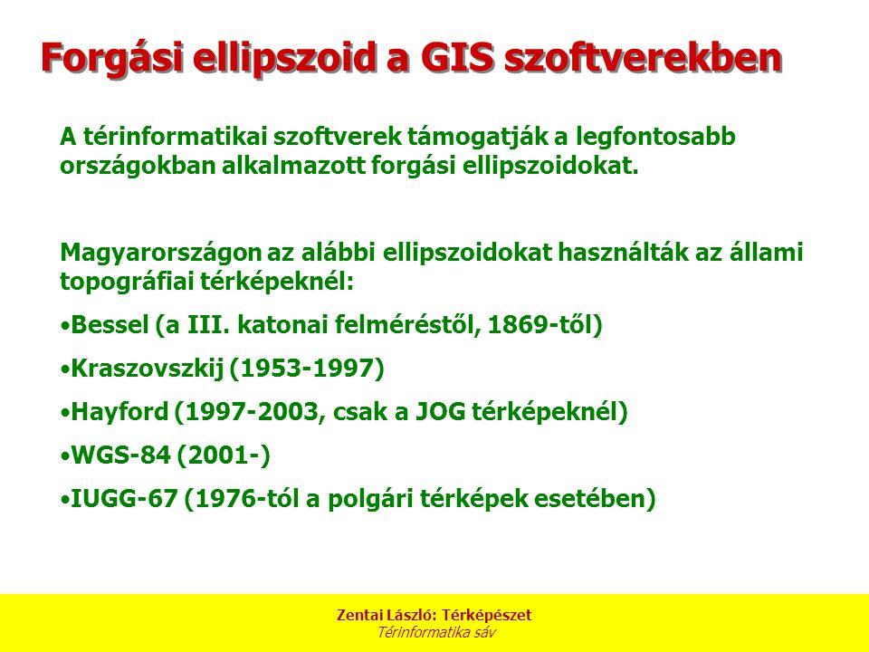 Zentai László: Térképészet Térinformatika sáv A térinformatikai szoftverek támogatják a legfontosabb országokban alkalmazott forgási ellipszoidokat.