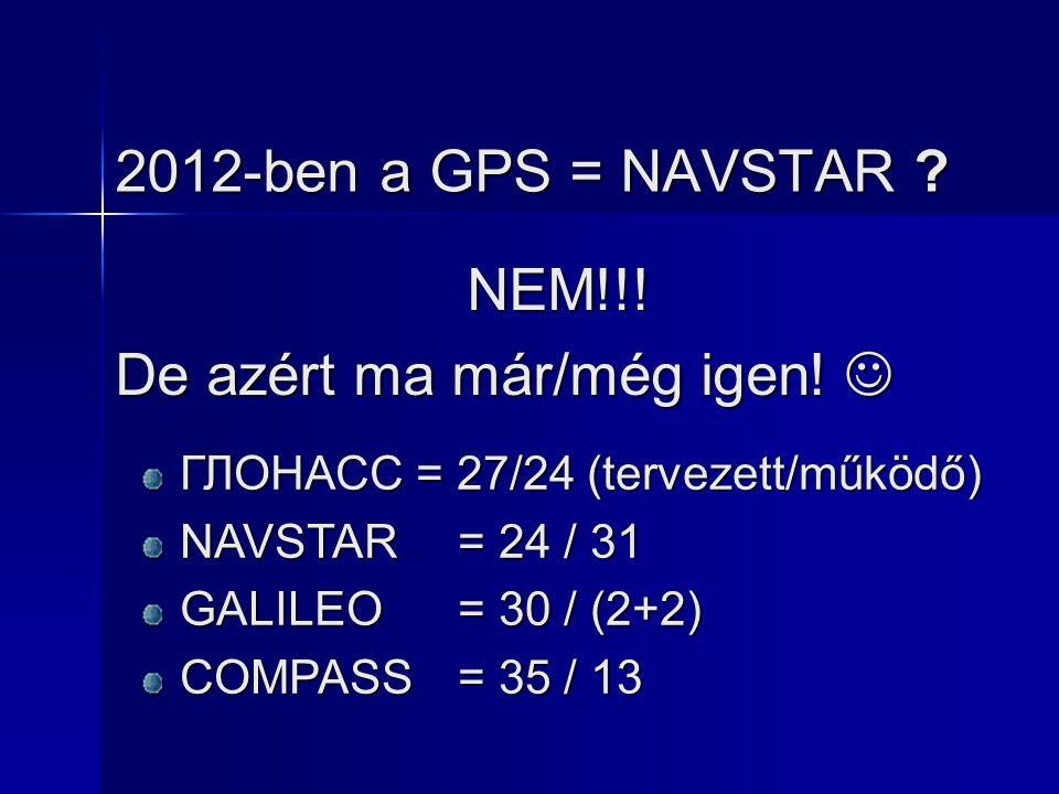 2012-ben a GPS = NAVSTAR ? NEM!!! De azért ma már/még igen! De azért ma már/még igen! ГЛОНАСС = 27/24 (tervezett/működő) NAVSTAR= 24 / 31 GALILEO= 30