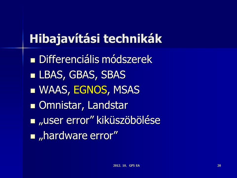 2012. 10. GPS EA20 Hibajavítási technikák Differenciális módszerek Differenciális módszerek LBAS, GBAS, SBAS LBAS, GBAS, SBAS WAAS, EGNOS, MSAS WAAS,