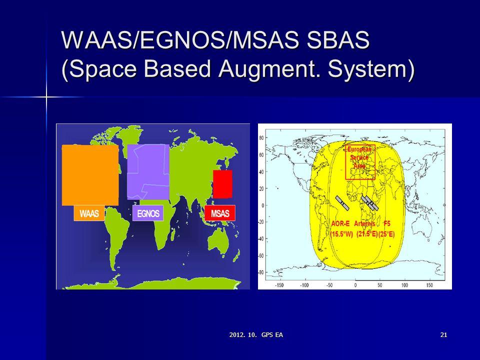 2012. 10. GPS EA21 WAAS/EGNOS/MSAS SBAS (Space Based Augment. System)