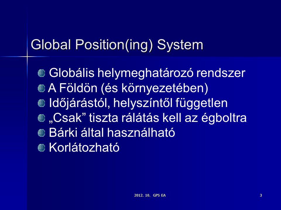 """2012. 10. GPS EA3 Global Position(ing) System Globális helymeghatározó rendszer A Földön (és környezetében) Időjárástól, helyszíntől független """"Csak"""""""