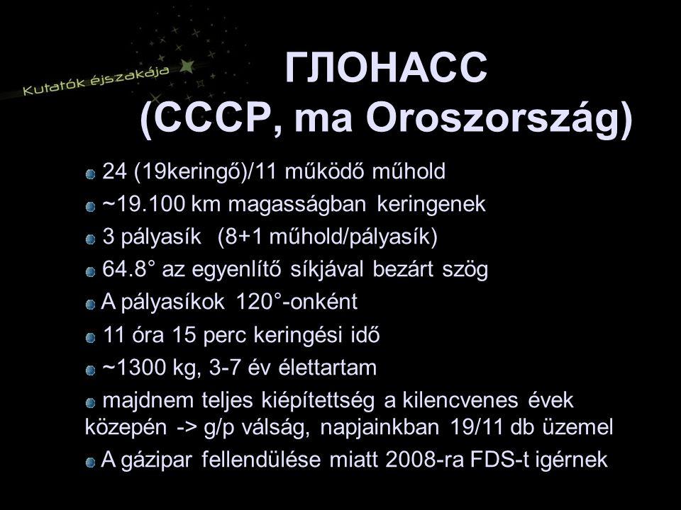 ГЛОНАСС (CCCP, ma Oroszország) 24 (19keringő)/11 működő műhold 24 (19keringő)/11 működő műhold ~19.100 km magasságban keringenek ~19.100 km magasságban keringenek 3 pályasík (8+1 műhold/pályasík) 3 pályasík (8+1 műhold/pályasík) 64.8° az egyenlítő síkjával bezárt szög 64.8° az egyenlítő síkjával bezárt szög A pályasíkok 120°-onként A pályasíkok 120°-onként 11 óra 15 perc keringési idő 11 óra 15 perc keringési idő ~1300 kg, 3-7 év élettartam ~1300 kg, 3-7 év élettartam majdnem teljes kiépítettség a kilencvenes évek közepén -> g/p válság, napjainkban 19/11 db üzemel majdnem teljes kiépítettség a kilencvenes évek közepén -> g/p válság, napjainkban 19/11 db üzemel A gázipar fellendülése miatt 2008-ra FDS-t igérnek A gázipar fellendülése miatt 2008-ra FDS-t igérnek