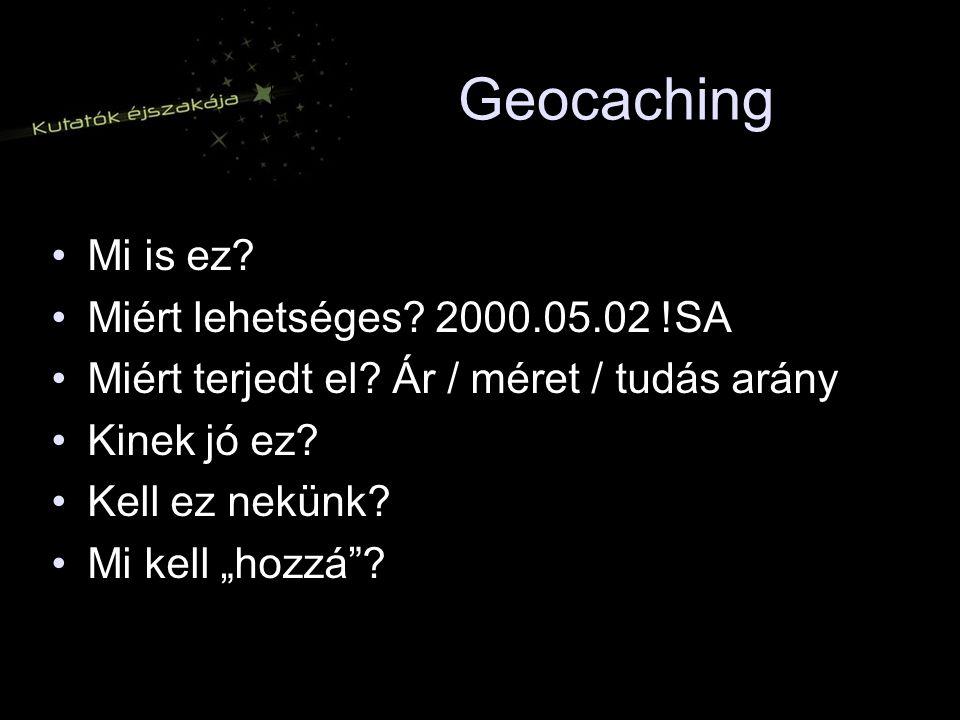 Geocaching Mi is ez.Miért lehetséges. 2000.05.02 !SA Miért terjedt el.