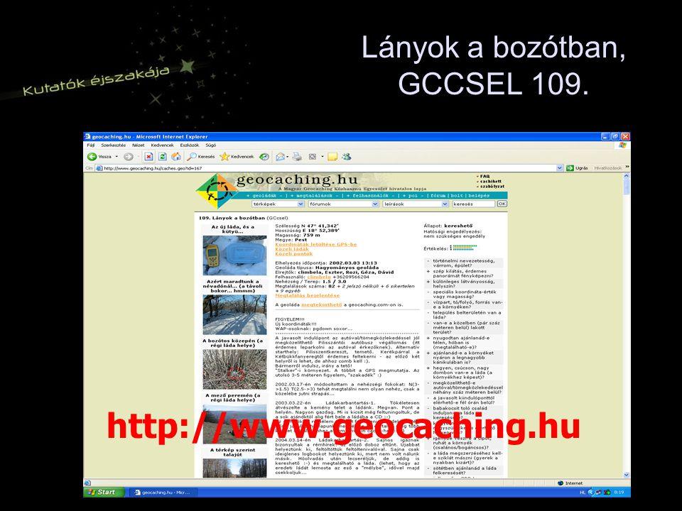 Lányok a bozótban, GCCSEL 109. http://www.geocaching.hu