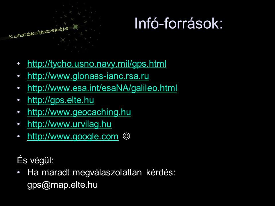 Infó-források: http://tycho.usno.navy.mil/gps.html http://www.glonass-ianc.rsa.ru http://www.esa.int/esaNA/galileo.html http://gps.elte.hu http://www.geocaching.hu http://www.urvilag.hu http://www.google.com És végül: Ha maradt megválaszolatlan kérdés: gps@map.elte.hu