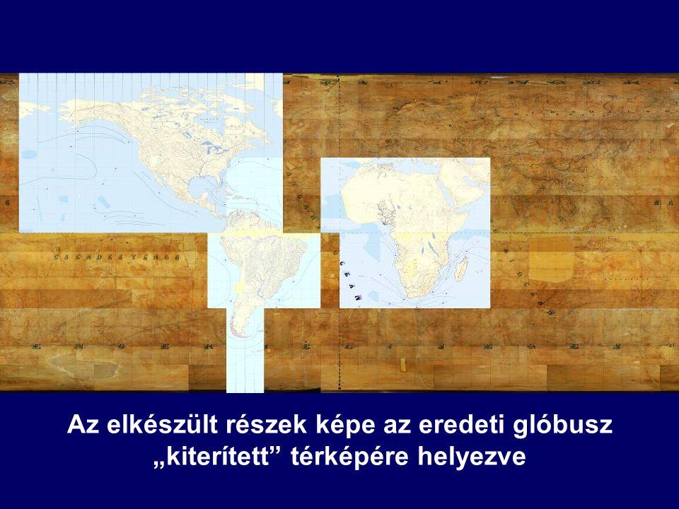 """Az elkészült részek képe az eredeti glóbusz """"kiterített térképére helyezve"""
