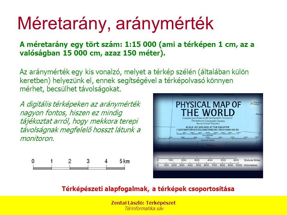 Zentai László: Térképészet Térinformatika sáv A méretarány egy tört szám: 1:15 000 (ami a térképen 1 cm, az a valóságban 15 000 cm, azaz 150 méter). T