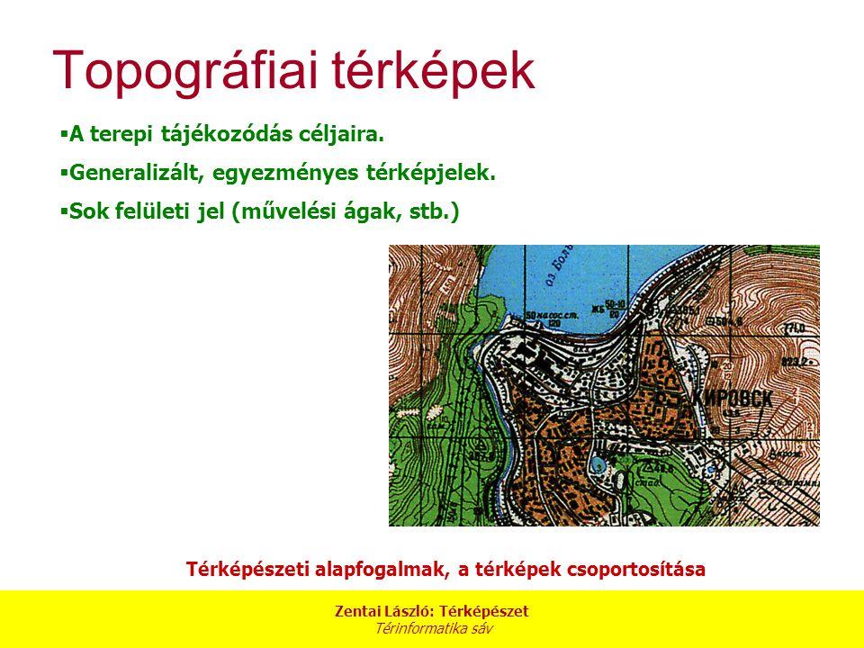 Zentai László: Térképészet Térinformatika sáv Térképészeti alapfogalmak, a térképek csoportosítása Topográfiai térképek  A terepi tájékozódás céljair