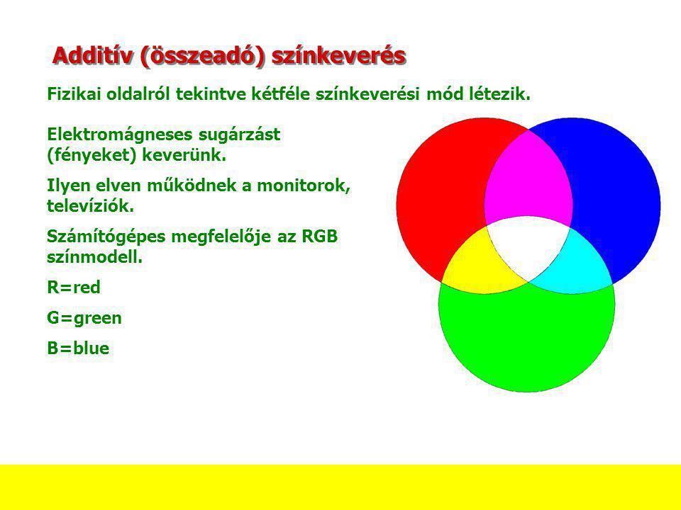 Additív (összeadó) színkeverés Fizikai oldalról tekintve kétféle színkeverési mód létezik. Elektromágneses sugárzást (fényeket) keverünk. Ilyen elven