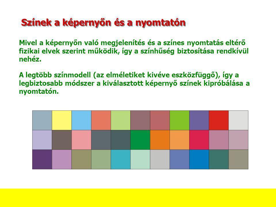 Színek a képernyőn és a nyomtatón Mivel a képernyőn való megjelenítés és a színes nyomtatás eltérő fizikai elvek szerint működik, így a színhűség bizt