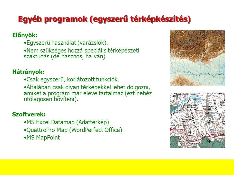 Egyéb programok (egyszerű térképkészítés) Előnyök: Egyszerű használat (varázslók). Nem szükséges hozzá speciális térképészeti szaktudás (de hasznos, h