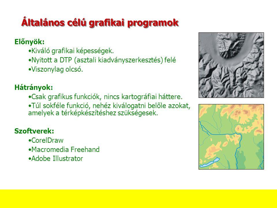 Általános célú grafikai programok Előnyök: Kiváló grafikai képességek.