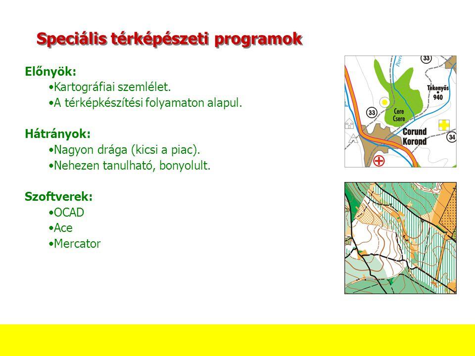 Speciális térképészeti programok Előnyök: Kartográfiai szemlélet.
