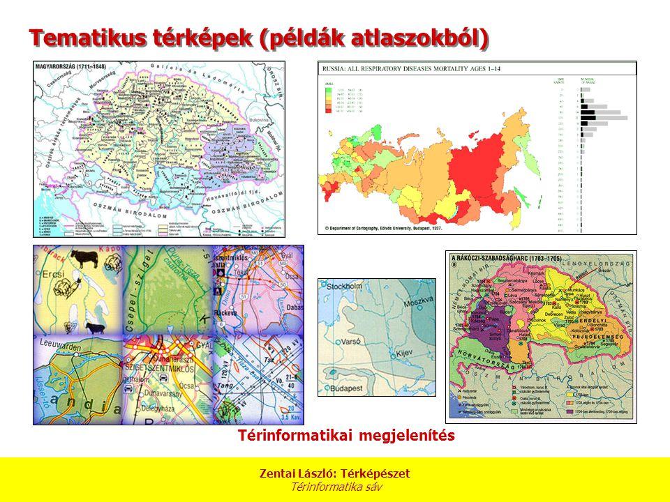 Zentai László: Térképészet Térinformatika sáv Térinformatikai megjelenítés Tematikus térképek (példák atlaszokból)