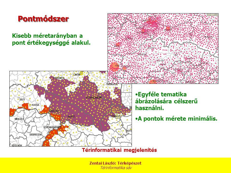 Zentai László: Térképészet Térinformatika sáv Kisebb méretarányban a pont értékegységgé alakul.