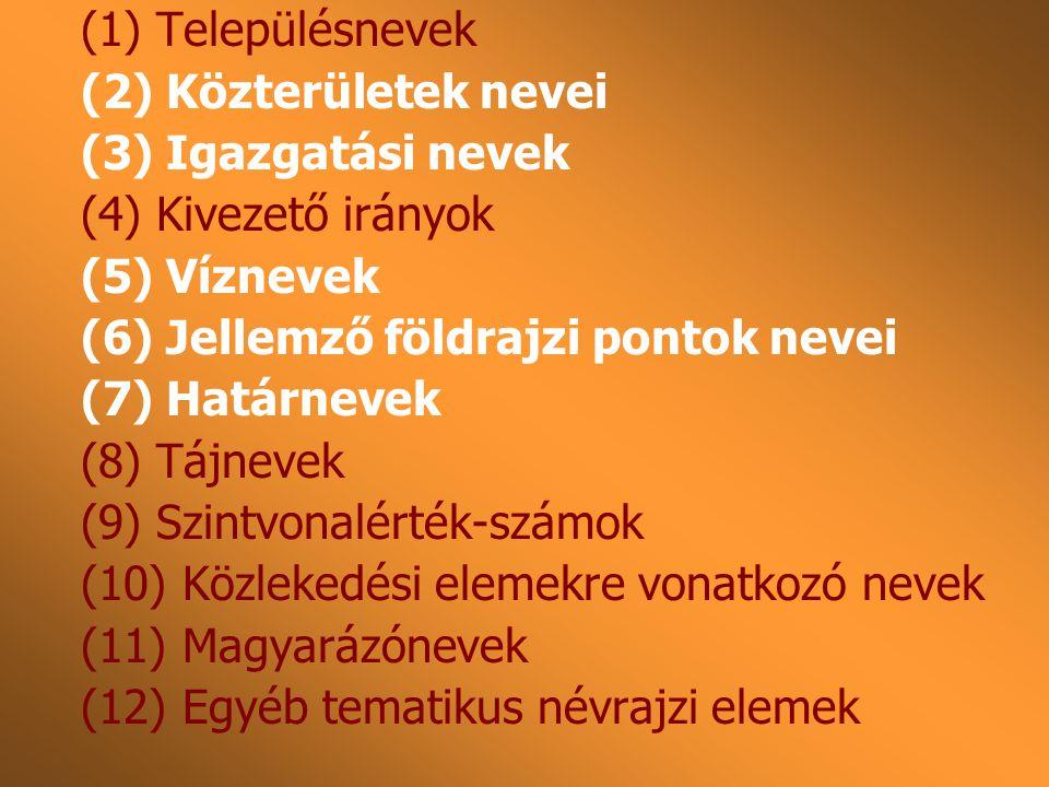 (1) Településnevek (2) Közterületek nevei (3) Igazgatási nevek (4) Kivezető irányok (5) Víznevek (6) Jellemző földrajzi pontok nevei (7) Határnevek (8