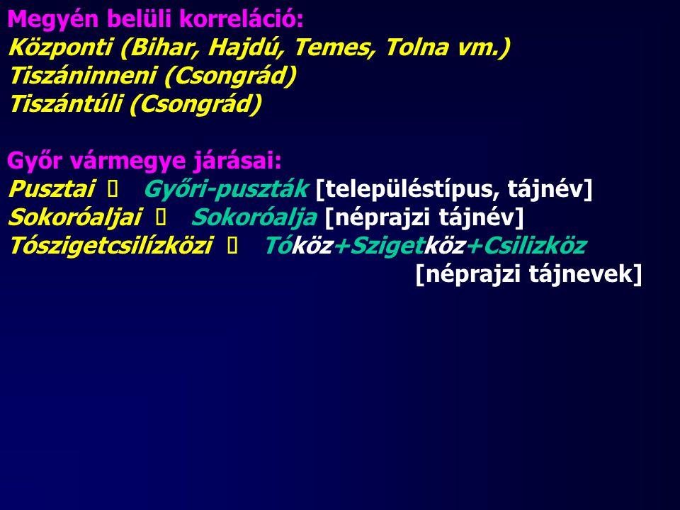 Megyén belüli korreláció: Központi (Bihar, Hajdú, Temes, Tolna vm.) Tiszáninneni (Csongrád) Tiszántúli (Csongrád) Győr vármegye járásai: Pusztai ü Győ