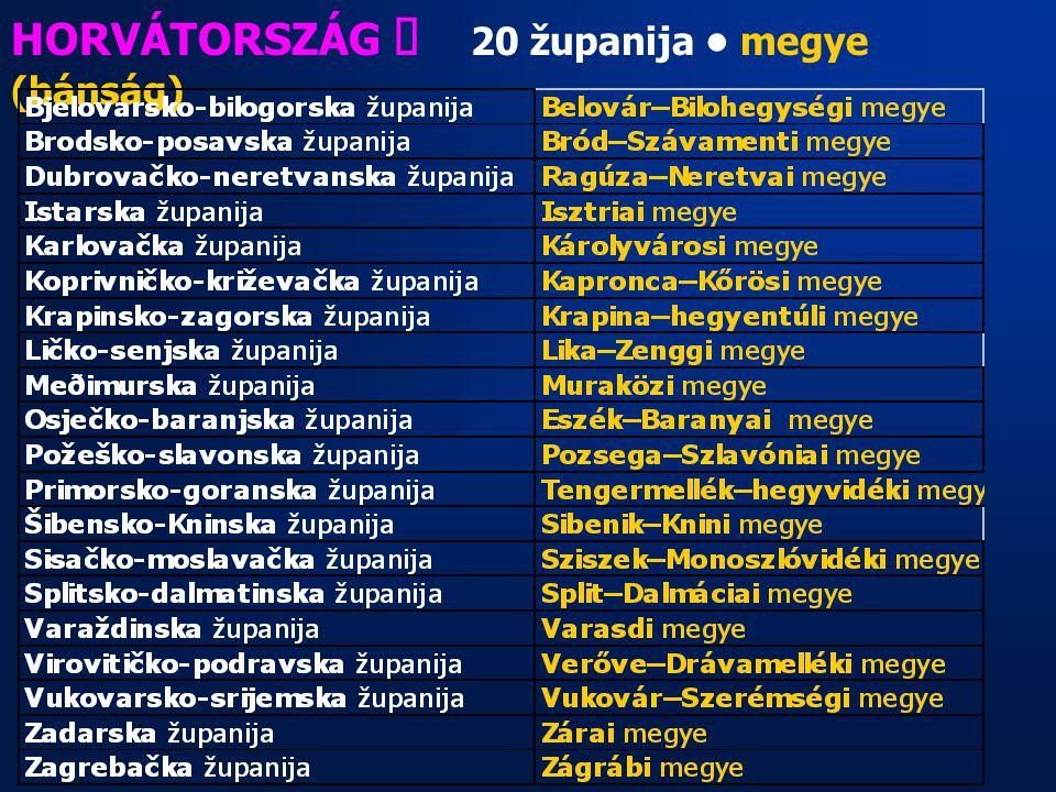 HORVÁTORSZÁG ő 20 županija megye (bánság)