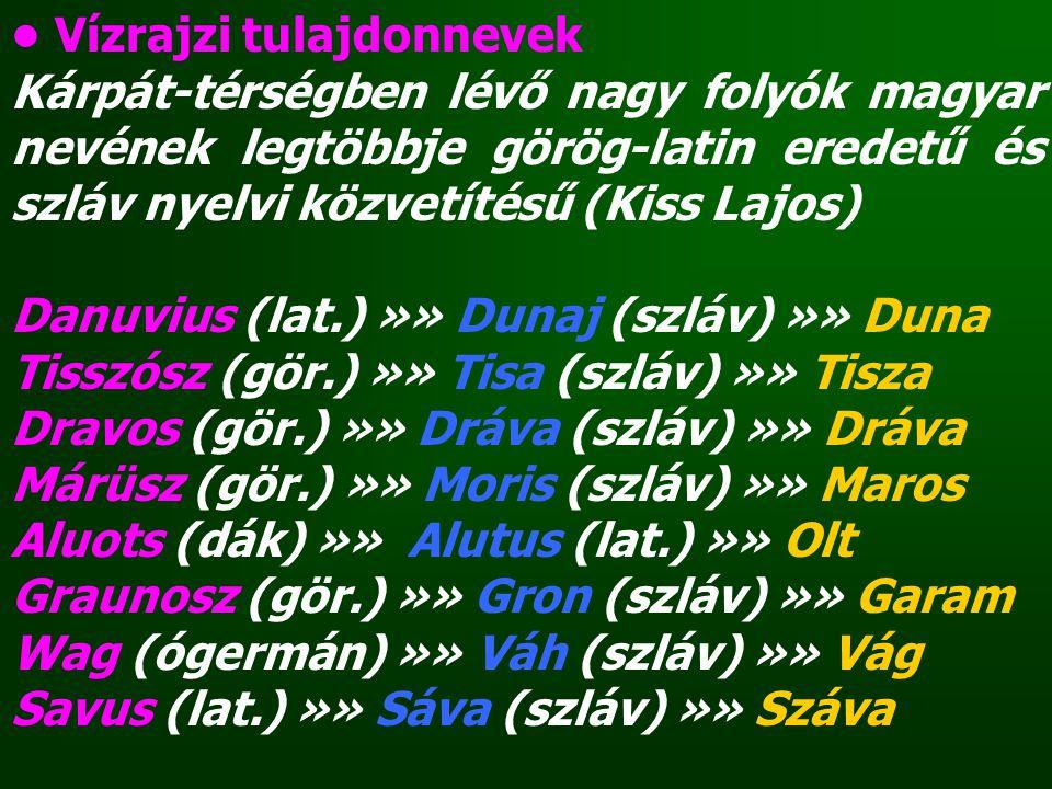 Vízrajzi tulajdonnevek Kárpát-térségben lévő nagy folyók magyar nevének legtöbbje görög-latin eredetű és szláv nyelvi közvetítésű (Kiss Lajos) Danuviu