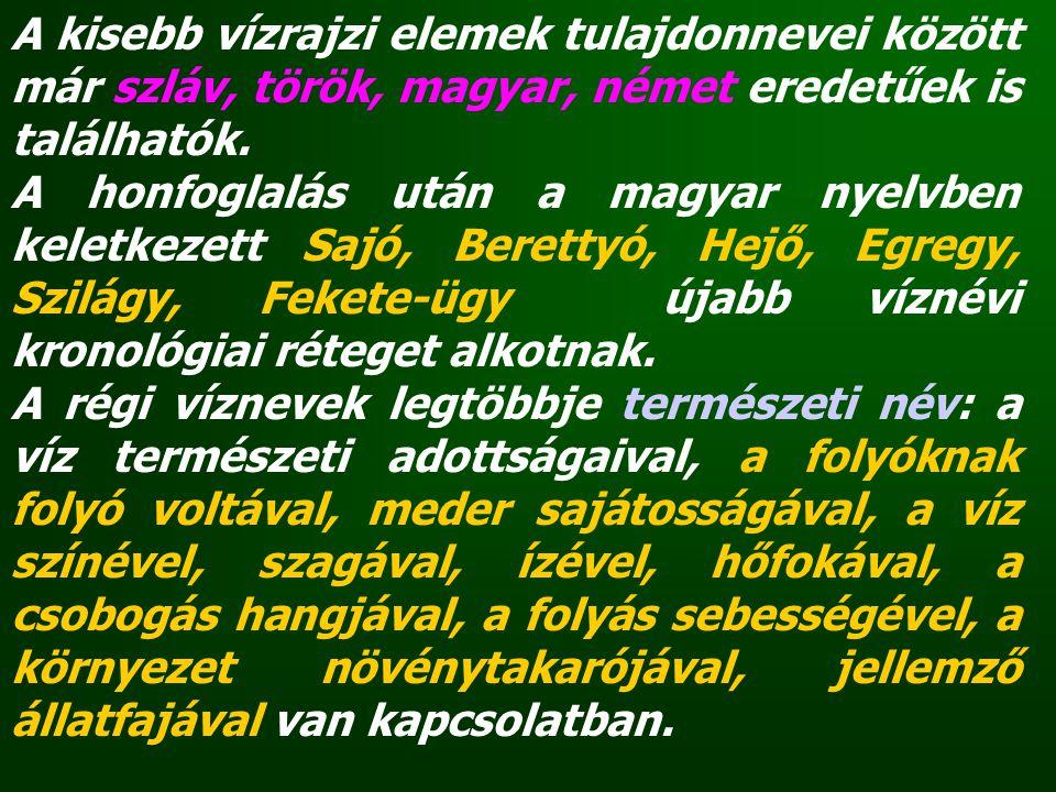 A kisebb vízrajzi elemek tulajdonnevei között már szláv, török, magyar, német eredetűek is találhatók. A honfoglalás után a magyar nyelvben keletkezet