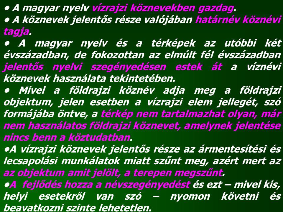 A magyar nyelv vízrajzi köznevekben gazdag. A köznevek jelentős része valójában határnév köznévi tagja. A magyar nyelv és a térképek az utóbbi két évs