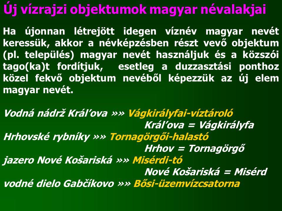 Új vízrajzi objektumok magyar névalakjai Ha újonnan létrejött idegen víznév magyar nevét keressük, akkor a névképzésben részt vevő objektum (pl. telep