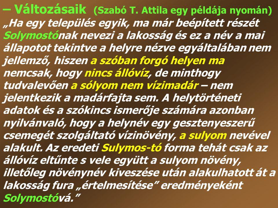 """– Változásaik (Szabó T. Attila egy példája nyomán) """"Ha egy település egyik, ma már beépített részét Solymostónak nevezi a lakosság és ez a név a mai á"""