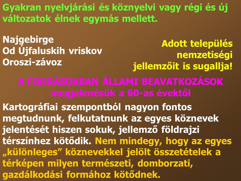 Gyakran nyelvjárási és köznyelvi vagy régi és új változatok élnek egymás mellett. Najgebirge Od Újfaluskih vriskov Oroszi-závoz Kartográfiai szempontb