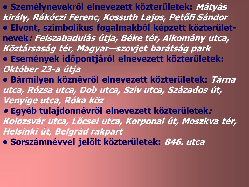Személynevekről elnevezett közterületek: Mátyás király, Rákóczi Ferenc, Kossuth Lajos, Petőfi Sándor Elvont, szimbolikus fogalmakból képzett közterüle