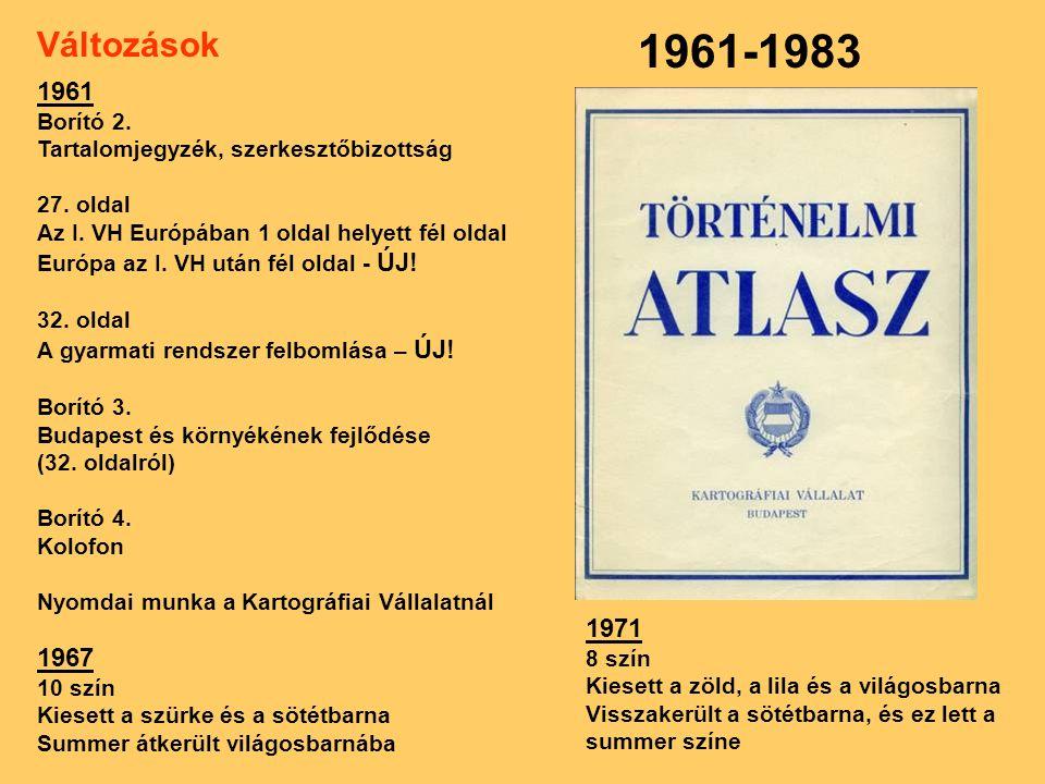 1961-1983 Változások 1961 Borító 2.Tartalomjegyzék, szerkesztőbizottság 27.