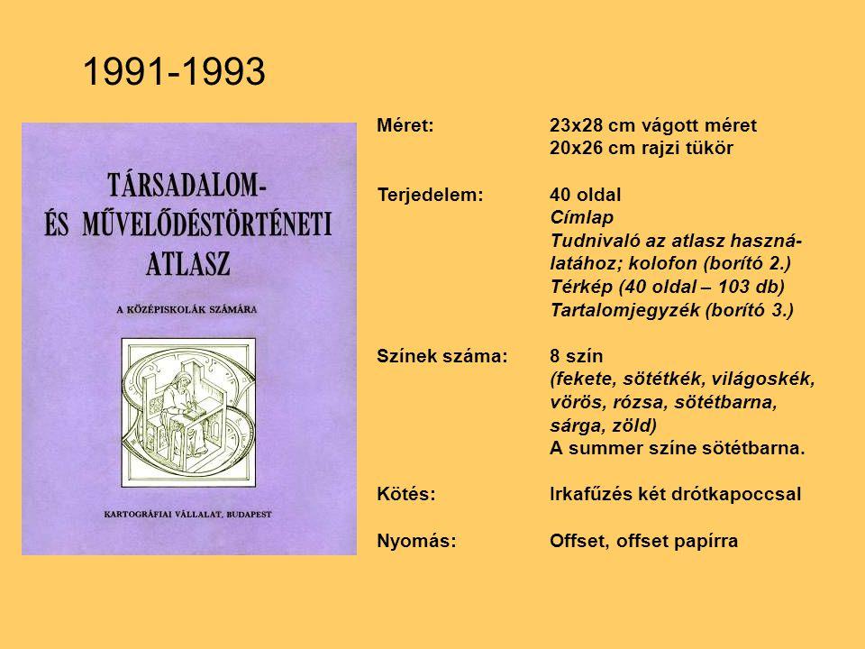 Méret:23x28 cm vágott méret 20x26 cm rajzi tükör Terjedelem:40 oldal Címlap Tudnivaló az atlasz haszná- latához; kolofon (borító 2.) Térkép (40 oldal – 103 db) Tartalomjegyzék (borító 3.) Színek száma:8 szín (fekete, sötétkék, világoskék, vörös, rózsa, sötétbarna, sárga, zöld) A summer színe sötétbarna.