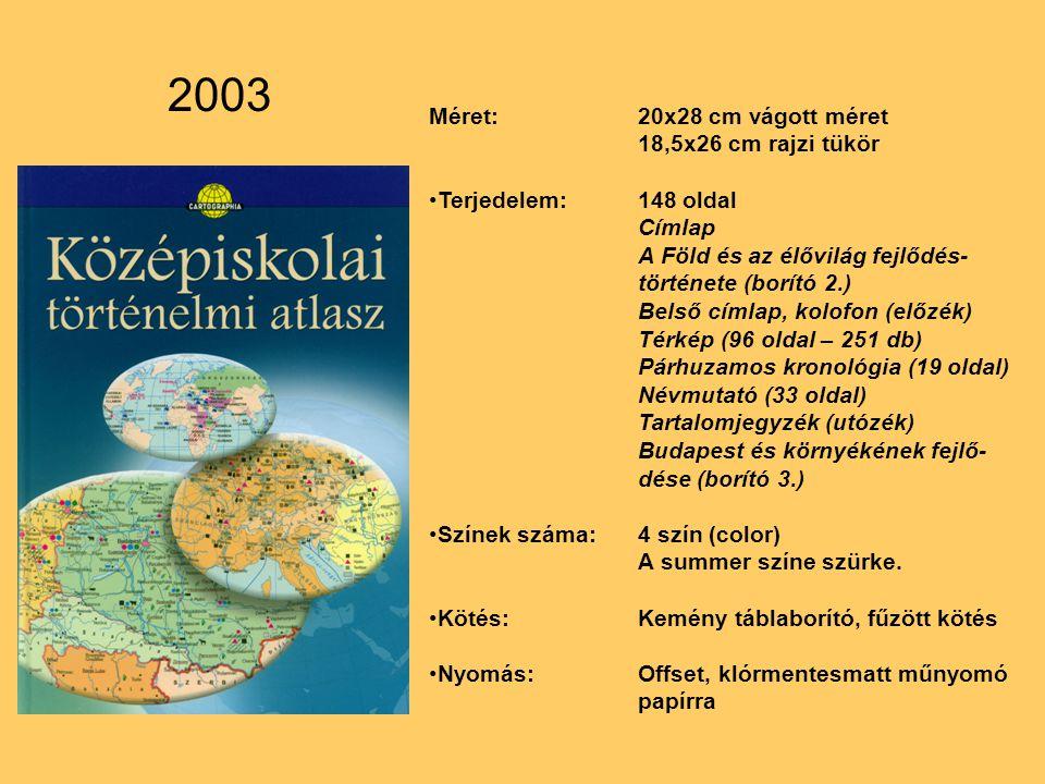 Méret:20x28 cm vágott méret 18,5x26 cm rajzi tükör Terjedelem:148 oldal Címlap A Föld és az élővilág fejlődés- története (borító 2.) Belső címlap, kolofon (előzék) Térkép (96 oldal – 251 db) Párhuzamos kronológia (19 oldal) Névmutató (33 oldal) Tartalomjegyzék (utózék) Budapest és környékének fejlő- dése (borító 3.) Színek száma:4 szín (color) A summer színe szürke.