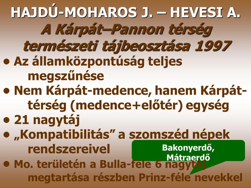 MAROSI S.–SOMOGYI S. Magyarország kistájainak katasztere* 1990 Bulla 1962-es beosztásának megerősítése, kistáj szintű fejlesztése Szigorú államközpont