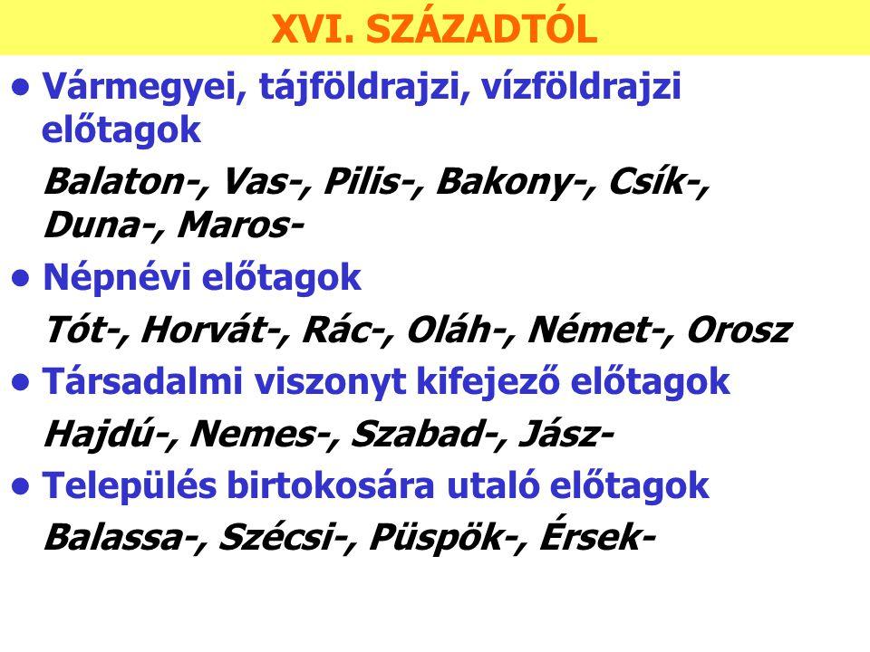 Vármegyei, tájföldrajzi, vízföldrajzi előtagok Balaton-, Vas-, Pilis-, Bakony-, Csík-, Duna-, Maros- Népnévi előtagok Tót-, Horvát-, Rác-, Oláh-, Néme