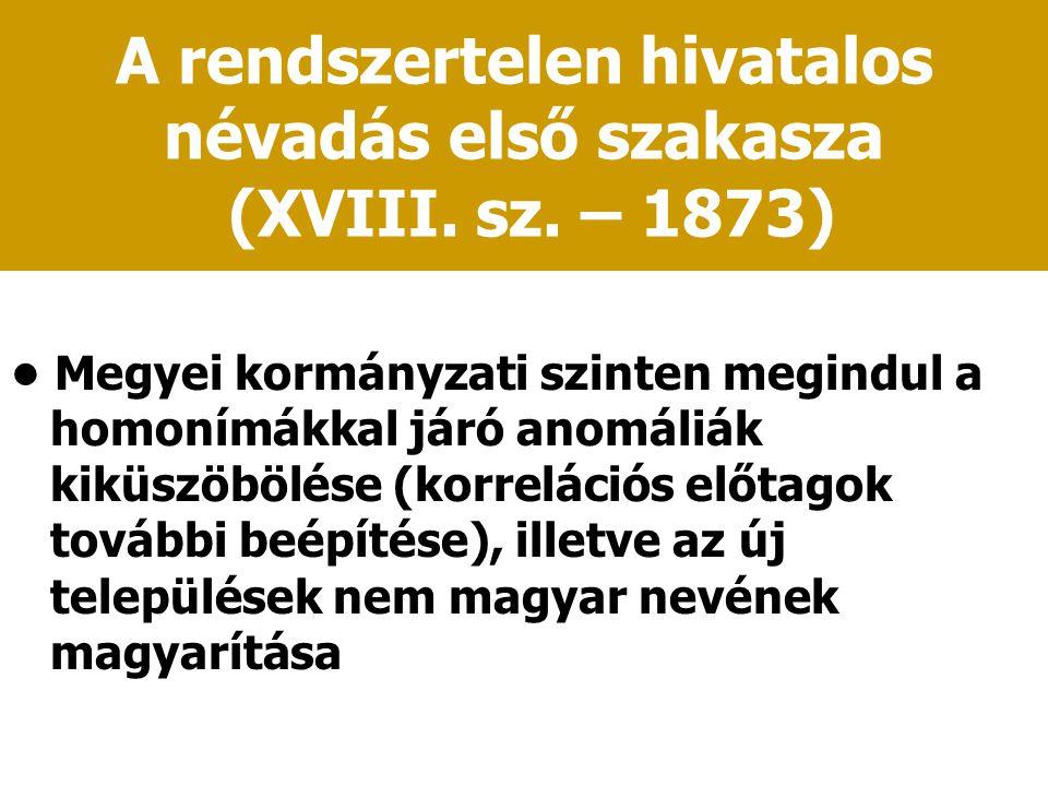 A rendszertelen hivatalos névadás első szakasza (XVIII. sz. – 1873) Megyei kormányzati szinten megindul a homonímákkal járó anomáliák kiküszöbölése (k
