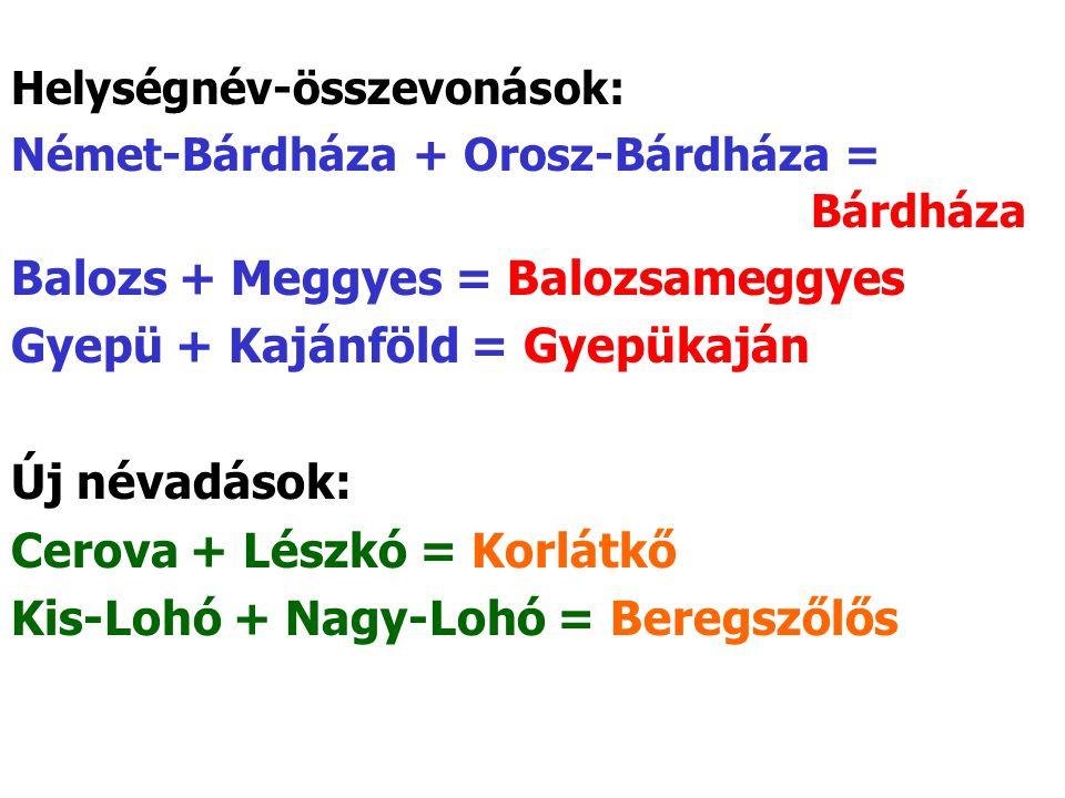 Helységnév-összevonások: Német-Bárdháza + Orosz-Bárdháza = Bárdháza Balozs + Meggyes = Balozsameggyes Gyepü + Kajánföld = Gyepükaján Új névadások: Cerova + Lészkó = Korlátkő Kis-Lohó + Nagy-Lohó = Beregszőlős