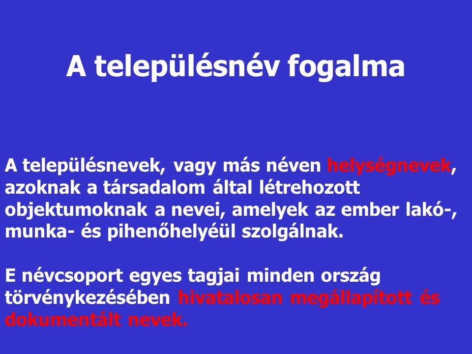 Vármegyei, tájföldrajzi, vízföldrajzi előtagok Balaton-, Vas-, Pilis-, Bakony-, Csík-, Duna-, Maros- Népnévi előtagok Tót-, Horvát-, Rác-, Oláh-, Német-, Orosz Társadalmi viszonyt kifejező előtagok Hajdú-, Nemes-, Szabad-, Jász- Település birtokosára utaló előtagok Balassa-, Szécsi-, Püspök-, Érsek- XVI.