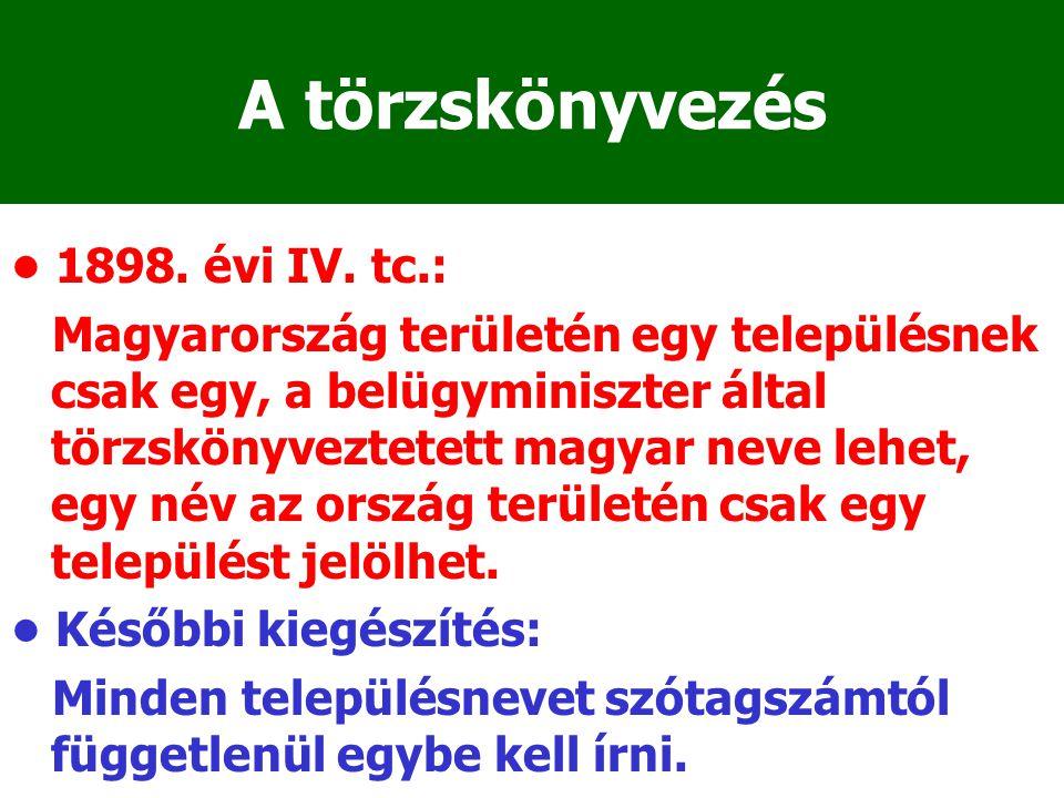 A törzskönyvezés 1898. évi IV. tc.: Magyarország területén egy településnek csak egy, a belügyminiszter által törzskönyveztetett magyar neve lehet, eg